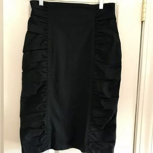 Nanette Lepore Black High Waist Side Ruched Skirt